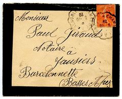 France 1929 RPO / Mourning Cover Chambery A Grenoble To Jausiers, Barcelonnette - Postmark Collection (Covers)