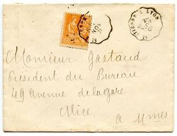 France 1901 RPO Cover St. Etienne A Lyon To Nice - Postmark Collection (Covers)