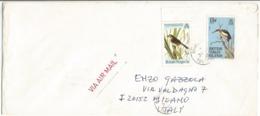 British Virgin Island BVI Birds Issue USCy 1985 C15 + Audubon C5 On Open AirmailCV Tortola 5mar1986 X Italy - British Virgin Islands