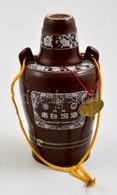 Japán Szakés üveg, Mázas Kerámia, Csészével, M: 15 Cm - Ceramics & Pottery
