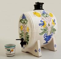 Levélmintás Kerámia Pálinkás Pohár, Kézzel Festett, Lepattanással, M: 6,5 Cm, D: 6,5 Cm + Virágmintás Kerámia Hordó, Kéz - Ceramics & Pottery