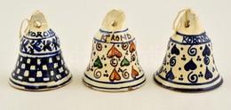 3 Db Korondi Mázas Kerámia Csengetty?, Cseng?, Harang. Hibátlanok. / Ceramic Bells 8 Cm - Ceramics & Pottery