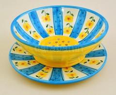Gyümölcslemosó és Egy Tál, Kézzel Festett Mázas Kerámia, Hibátlan, D:d:24 és 25 Cm, M:9 Cm - Ceramics & Pottery