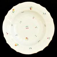 Herendi Mélytányér, Kézzel Festett, Jelzett (koronás),kopott Aranyozás, D:24 Cm - Ceramics & Pottery