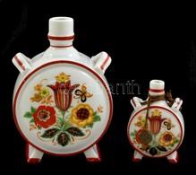 Zsolnay Porcelán Mini Kulacs, Matricás, Jelzett, Hibátlan, M: 7,5 és 12,5 Cm - Ceramics & Pottery