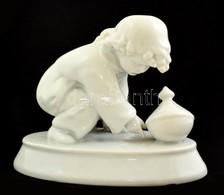 Zsolnay Kisfiú A Búgócsigával, Fehér Mázas, Jelzett, Hibátlan, M:11 Cm, H: 14 Cm (tervez?:Sinkó András) - Ceramics & Pottery