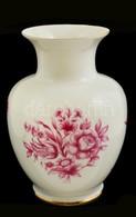 Hollóházi Virág Mintás Váza, Matricás, Jelzett, Hibátlan, M:17 Cm - Ceramics & Pottery