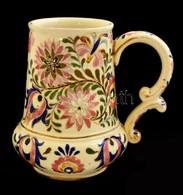 Cca 1890 Fischer Ignácz Budapest, Díszkorsó, Kézzel Festett, Aranyozott Porcelánfajansz, Arany Festés Több Helyen Lekopo - Ceramics & Pottery