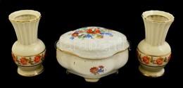 Drasche Virágmintás Bonbonier és 2 Db Virágmintás Mini Váza, Matricás, Jelzett, Kopott, M: 9,5 Cm és 6x10x8 Cm - Ceramics & Pottery