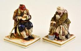 Alt Wien Koldus Pár, Kézzel Festett, Jelzett, Kis Kopásokkal, M: 12 Ill. 12,5 Cm - Ceramics & Pottery