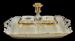 K&C Prag Antik Asztali Tintatartó Gyertyatartóval, Kézzel Festett, Jelzett, Kopott, Restaurált, 28×16 Cm, M:10 Cm - Ceramics & Pottery