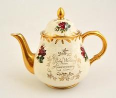 Arthur Wood Angol Teás Kancsó, Matricás, Jelzett, 'Ruby Wedding' Felirattal, Kopott, M: 18 Cm - Ceramics & Pottery
