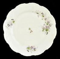 Virágmintás Porcelán Tányér, Matricás, Jelzés Nélkül, Kopott, Hajszálrepedésekkel, D: 25 Cm - Ceramics & Pottery