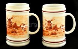 3 Db Malom, Malmokat ábrázoló Hollóházi Porcelán Korsócska / Mills Porcelain Jars 11 Vm - Ceramics & Pottery