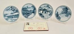 Kínai Dísztányér Készlet (4 Db), Levonóképes, Jelzett (Jingdezhen), Hibátlan, Eredeti Dobozában, Leírással, D:14,5 Cm (4 - Ceramics & Pottery