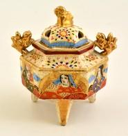 Jelzett Japán Füstöl?, Kézzel Festett, Kopott, M:12 Cm - Ceramics & Pottery