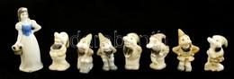 Hófehérke és A Hét Törpe, Porcelán Figurák (8 Db), Jelzés Nélkül,  M:4-7 Cm - Ceramics & Pottery