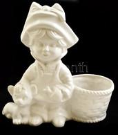 Kislány A Kosárral, Fehér Mázas Jelzett Porcelán, Máz Hibával, M:25 Cm, H:23 Cm - Ceramics & Pottery
