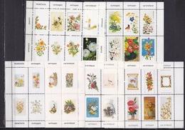 5 Velletjes A 8 Sluitzegels Met Vogels, Bloemen Etc Uitgave Removos Ca. 1980-1990 - Fantasie Vignetten