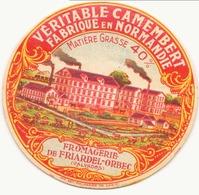Etiquette à Fromage Véritable Camenbert Fromagerie De Friandel-Orbec Calvados - Quesos