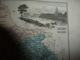1880 Carte Géographique Avec Descriptif De L' AUBE (Troyes),gravures En Taille Douce Par Migeon ,géographe-éditeur - Cartes Géographiques
