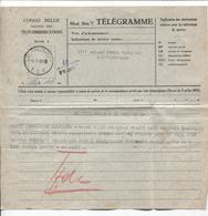 Belgisch Congo Belge Télégramme Pour E.M.Force Publique Léo.c.Léo.T.S.F. 5/1/45 2016 - Congo Belge