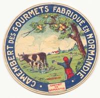 Etiquette à Fromage Camembert Des Gourmets  Fabriqué En Normandie - Fromage