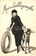 ** T2/T3 Mein Lieblingsreifen / My Favorite Tyres. Pirelli Italian Tires Advertisement Art Postcard With Lady And Greyho - Unclassified