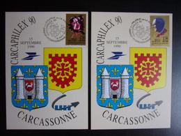 1990 Cartes Maximum 1er Jour Tino Rossi  Edith Piaf Carcassonne - 1990-99