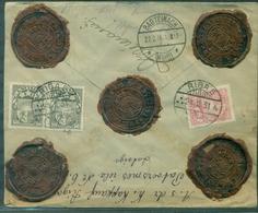 LETTONIE Belle Lettre De RIGA Du24.2.1931 Avec 5 Cachets De Cire De La Poste Arr Wurtemberg Le 27.2 RARE. - Lettonie