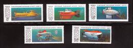 Submarine Argus Tinro Mir MNH 1990 Complete Set Of 5 Russia Sc 5941-5945 Mi 6138-6142 - Submarines