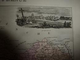 1880 Carte Géographique & Descriptif Des CÔTES Du NORD (St-Brieuc),gravures Taille Douce Par Migeon, Imprimeur-Géographe - Geographische Kaarten