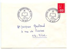 France 1976 Philatelic Cover Nice, International Book Festival - Postmark Collection (Covers)