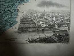 1880 Carte Géographique & Descriptif Du DOUBS (Besançon),gravures En Taille Douce Par Migeon, Imprimeur-Géographe - Geographische Kaarten