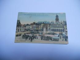 02  AISNE CARTE ANCIENNE  EN COULEUR DE 1937 SAINT QUENTIN LA PLACE DE L'HOTEL DE VILLE EDIT  N G - Saint Quentin
