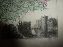 1880 Carte Géographique & Descriptif De L' EURE Et LOIR (Chartres),gravures Taille Douce Par Migeon, Imprimeur-Géographe - Geographische Kaarten