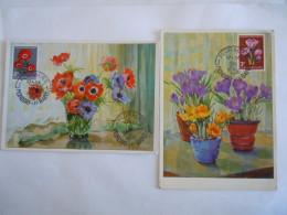 Luxembourg 1956 Fleurs Anémones Crocus Floralies Mondorf Timbre Yv 506-507 2 Cartes Maximum - Maximumkaarten