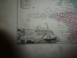 1880 Carte Géographique & Descriptif Du FINISTERE (Quimper, Brest),gravures Taille Douce Par Migeon, Imprimeur-Géographe - Geographische Kaarten