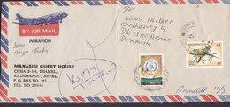 Nepal Air Mail Registered MANASLU GUEST HOUSE, KATHMANDU 1989 Cover Brief RØNNE Bornholm Denmark Bird Vogel Oiseau - Nepal