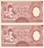PAREJA CORRELATIVA DE INDONESIA DE 1000 RUPIAH AÑO 1958 ARTESANO   (BANKNOTE) SIN CIRCULAR-UNCIRCULATED - Indonesia
