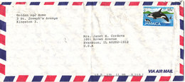 Jamaica Air Mail Cover Sent To USA 1988 Single Franked Whale Stamp (the Cover Is Bended) - Jamaica (1962-...)