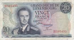 BILLETE DE LUXEMBURGO DE 20 FRANCS DEL AÑO 1966 (BANKNOTE) - Luxemburgo