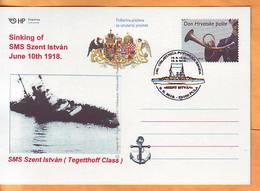 Croatia 2018 Y Postcard Overprint Sinking Of SMS Szent Istvan Ships  Postmark Pula 09.06. - Croatia