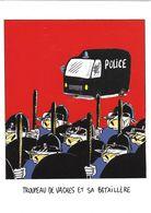 MICHEL CAMBON ILLUSTRATEUR HUMOUR  DRÔLES DE VACHES VACHES DÉGUISÉES EN CRS POLICE EDIT. LABEL IMAGES - Illustrators & Photographers