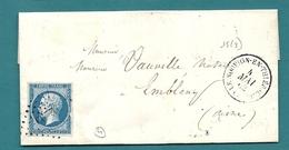 Aisne - Le Nouvion En Thierache Pour Ambleny. Belle Variété Sur YT14 (bordure à Droite) - Marcophilie (Lettres)