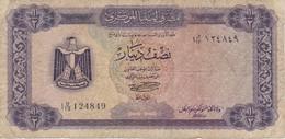 BILLETE DE LIBIA DE 1/2 DINAR DEL AÑO 1972 (BANKNOTE) - Libye