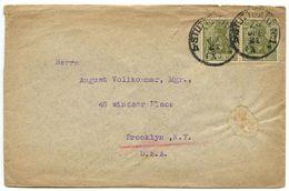 Germany 1921 Cover Stuttgart To Brooklyn, New York W/ 60p. Germania Pair - Germany