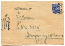 Germany 1940's Cover Bremen To Montgomery, Alabama W/ Scott 553 - American,British And Russian Zone