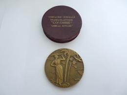 Superbe Médaille Compagnie Générale Transatlantique  Colombie   Ligne Des Antilles  En  Bronze  Avec Sa Boite - Non Classés