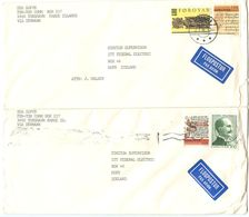 Faroes 1980's 4 Covers Tórshavn To Hofn, Iceland W/ Mix Of Stamps - Faroe Islands